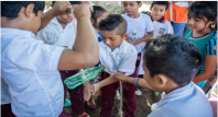 Hygiene promotion activities in a school.